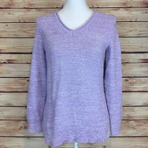 Croft & Barrow Purple V Neck Sweater Long Sleeve M
